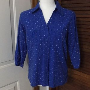 Blue Polka Dot 2-pocket Button Down Top